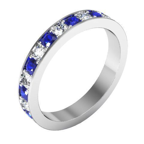 Alternating Blue Sapphire and Diamond Pave Eternity Band (1.30 cttw)