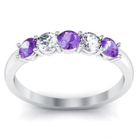 0.50cttw Shared Prong Amethyst and Diamond Five Stone Ring Five Stone Rings deBebians
