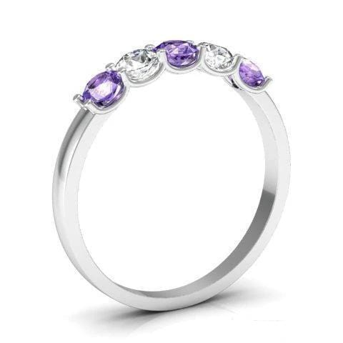 0.50cttw U Prong Amethyst Birthstone and Diamond 5 Stone Ring Five Stone Rings deBebians