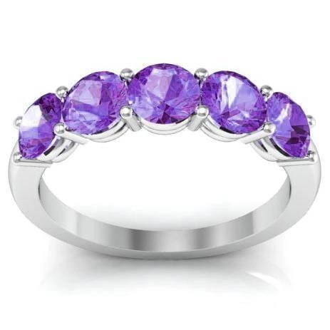 1.50cttw Shared Prong Amethyst Five Stone Ring Five Stone Rings deBebians