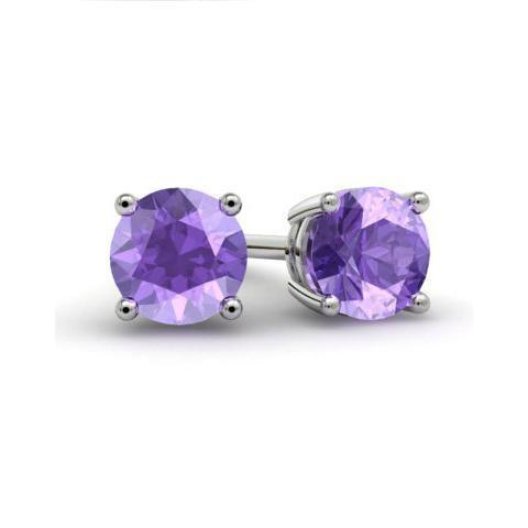 Amethyst Stud Earrings Gemstone Stud Earrings deBebians