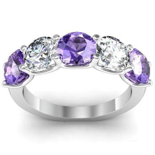 3.00cttw U Prong Diamond and Amethyst five Stone Ring Five Stone Rings deBebians