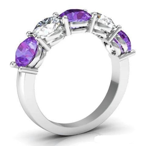 3.00cttw Shared Prong Diamond and Amethyst 5 Stone Ring Five Stone Rings deBebians