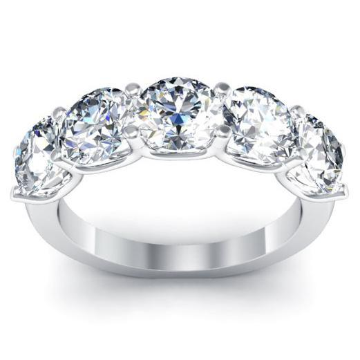 3.00cttw U Prong Round Diamond Five Stone Ring Five Stone Rings deBebians