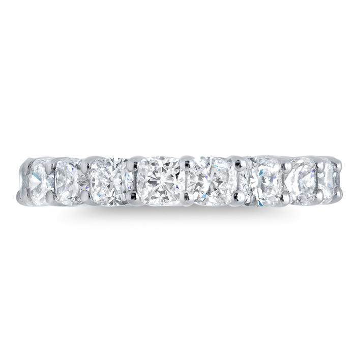 Cushion Cut Shared Prong Diamond Eternity Band - 5.10 carat - SI Clarity Diamond Eternity Rings deBebians