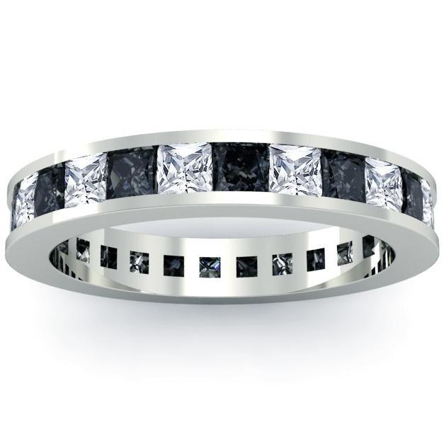 April Birthstone Ring with White and Black Diamonds