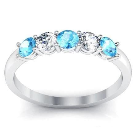 Aquamarine and Diamond Five Stone Ring