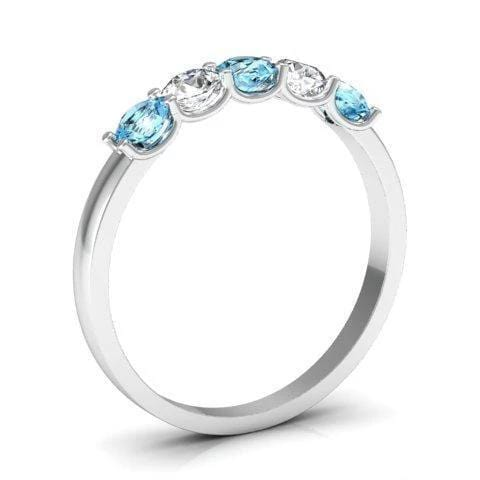 0.50cttw U Prong Aquamarine and Diamond Five Stone Band Five Stone Rings deBebians