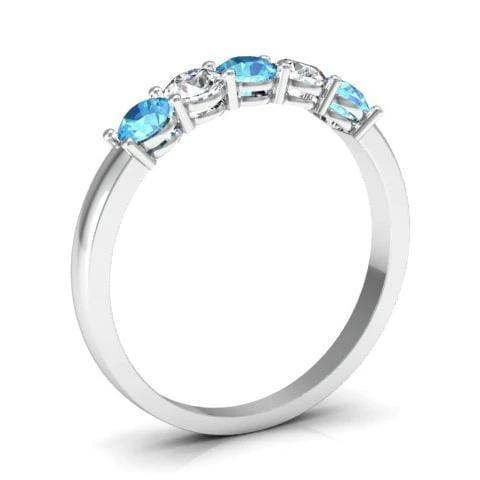 0.50cttw Shared Prong Aquamarine and Diamond Five Stone Ring Five Stone Rings deBebians