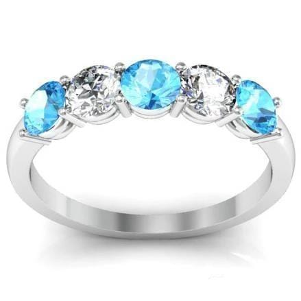1.00cttw Shared Prong Aquamarine and Diamond Five Stone Ring Five Stone Rings deBebians