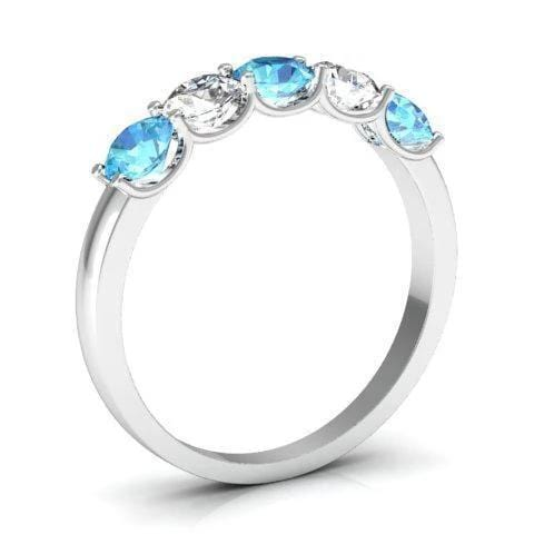 1.00cttw U Prong Aquamarine and Diamond 5 Stone Band Five Stone Rings deBebians