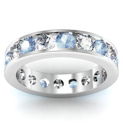 Aquamarine and Diamond Round Gemstone Eternity Band in Channel Setting