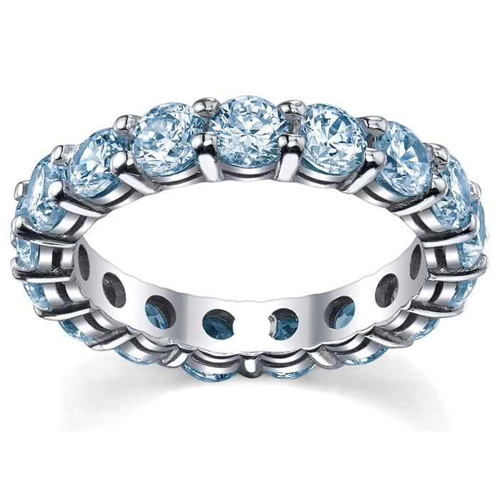 Aquamarine Anniversary Ring Gemstone Eternity Rings deBebians