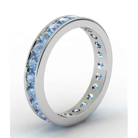 Aquamarine Eternity Band in Channel Setting Gemstone Eternity Rings deBebians