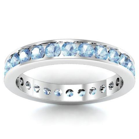 Aquamarine Eternity Ring in Channel Setting Gemstone Eternity Rings deBebians