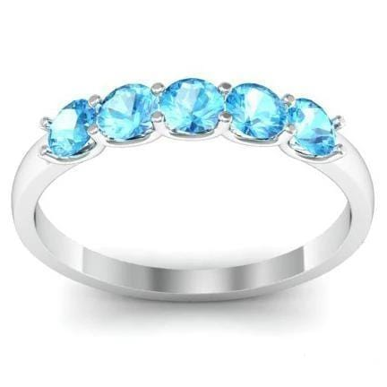 0.50cttw U Prong Aquamarine Five Stone Ring Five Stone Rings deBebians