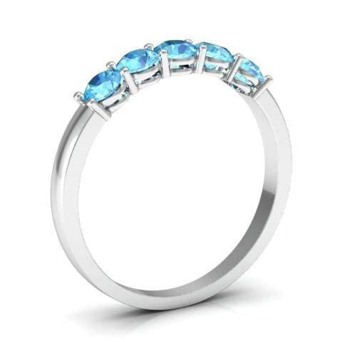 0.50cttw Shared Prong Aquamarine Five Stone Ring Five Stone Rings deBebians