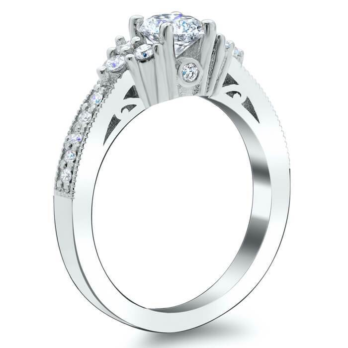 Art Deco Engagement Ring with Diamond Clusters Diamond Accented Engagement Rings deBebians