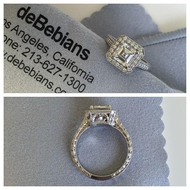 Art Deco Engagement Ring with Milgrain and Hand Engraving Halo Engagement Rings deBebians