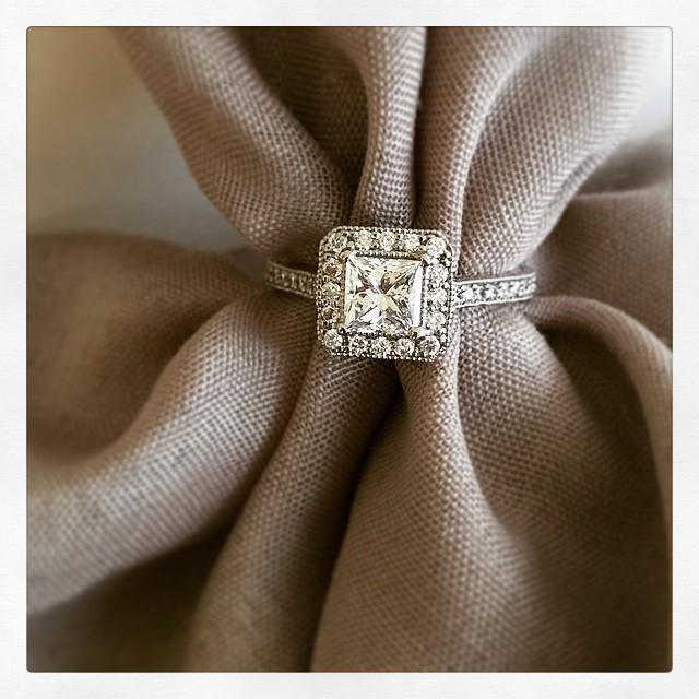 Art Deco Engagement Ring with Milgrain and Hand Engraving