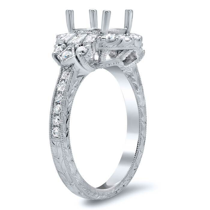Art Deco Style Halo Engagement Ring Diamond Accented Engagement Rings deBebians