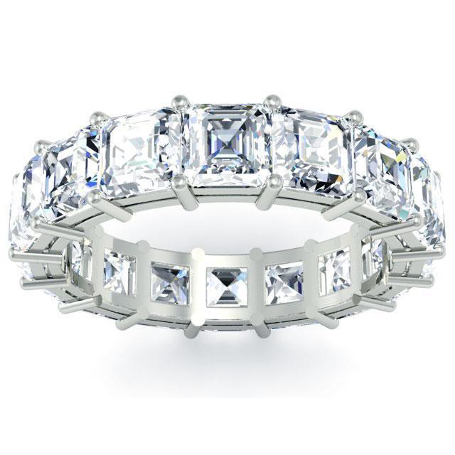 Asscher Cut Shared Prong Diamond Eternity Band - 5.10 carat - VS Clarity Diamond Eternity Rings deBebians