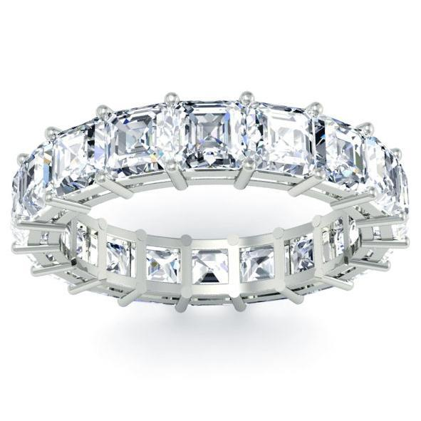 Asscher Cut Shared Prong Diamond Eternity Band - 4.50 carat Diamond Eternity Rings deBebians