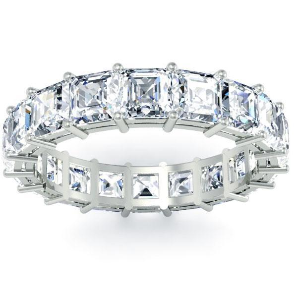 Asscher Cut Shared Prong Diamond Eternity Band - 4.00 carat Diamond Eternity Rings deBebians