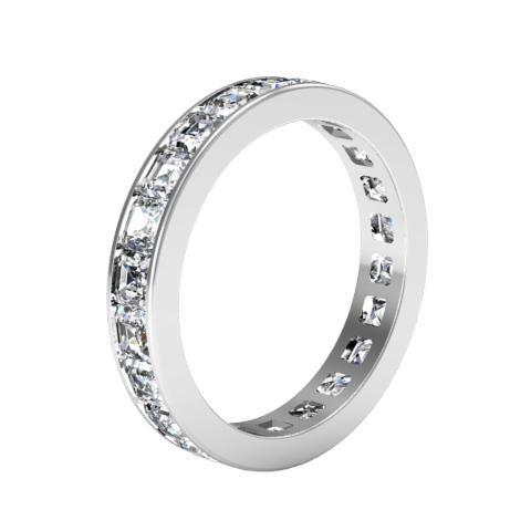 Asscher Cut Channel Set Diamond Eternity Band - 2.20 carat Diamond Eternity Rings deBebians