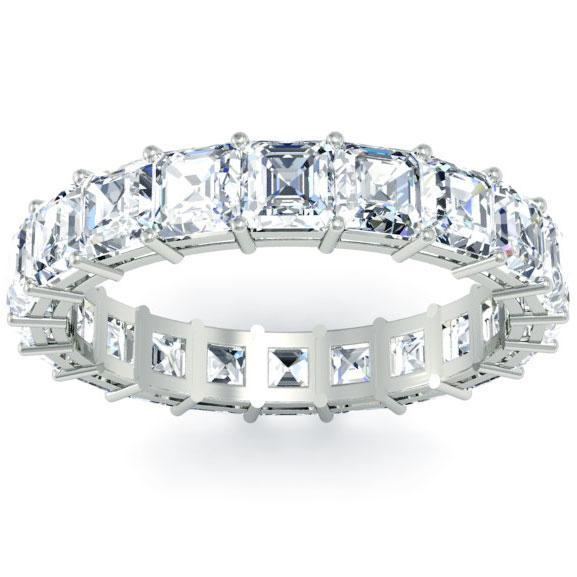 Asscher Cut Shared Prong Diamond Eternity Band - 3.30 carat Diamond Eternity Rings deBebians