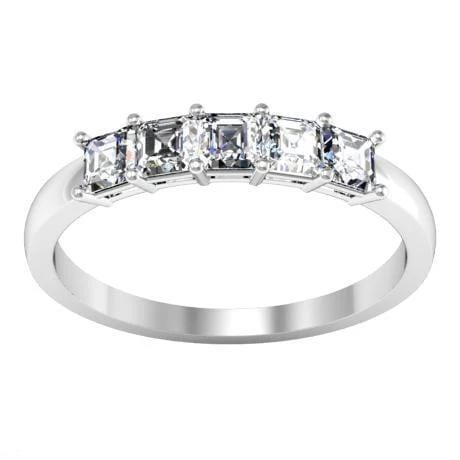 0.50cttw Shared Prong Asscher Diamond Five Stone Ring Five Stone Rings deBebians