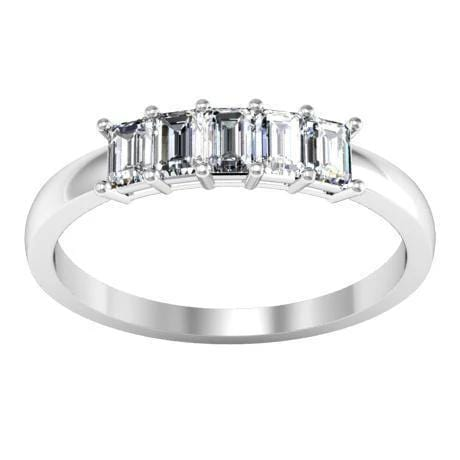 0.50cttw Shared Prong Emerald Cut Diamond Five Stone Ring Five Stone Rings deBebians