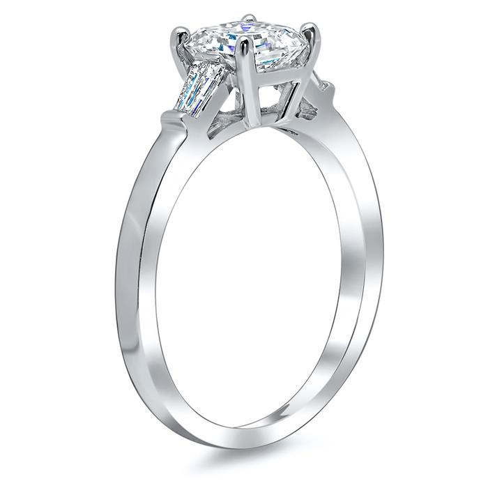 Asscher Three Stone Engagement Ring with Baguettes Diamond Accented Engagement Rings deBebians