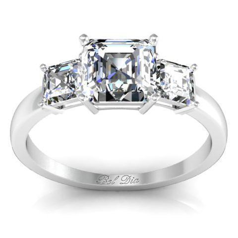 Asscher Three Stone Engagement Ring Diamond Accented Engagement Rings deBebians