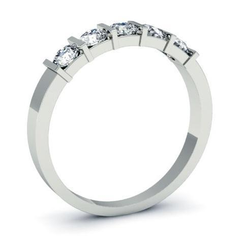 0.50cttw Bar Set Round Diamond Five Stone Ring Five Stone Rings deBebians