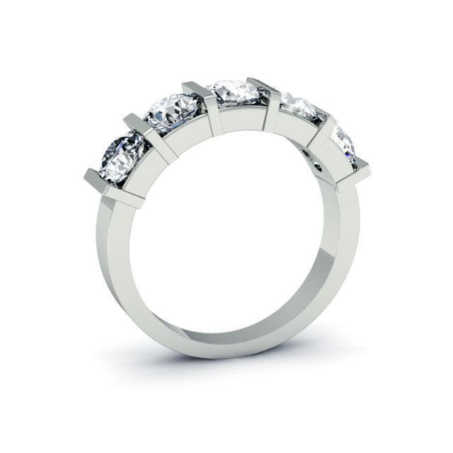 2.00cttw Bar Set Round Diamond Five Stone Ring Five Stone Rings deBebians