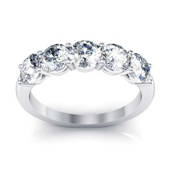 Beautiful 5-Stone Ring with 4.5mm Forever One Moissanite Moissanite Wedding Rings deBebians