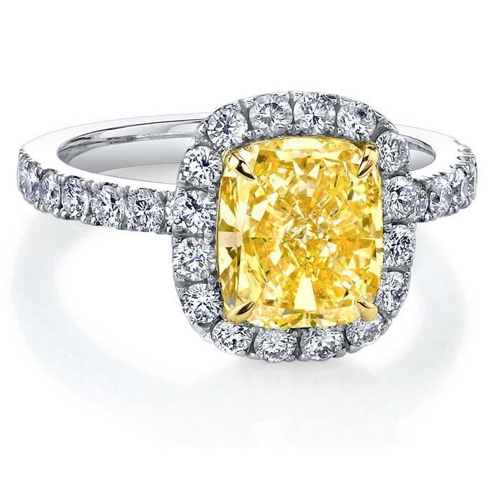 Yellow Diamond Halo Ring 0.60 cttw Yellow Diamond Engagement Rings deBebians