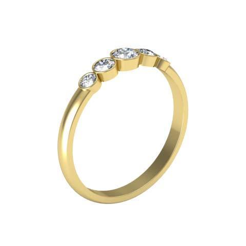 Bezel 5 Stone Diamond Ring