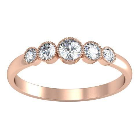 0.26cttw Bezel Round Diamond 5 Stone Ring Five Stone Rings deBebians