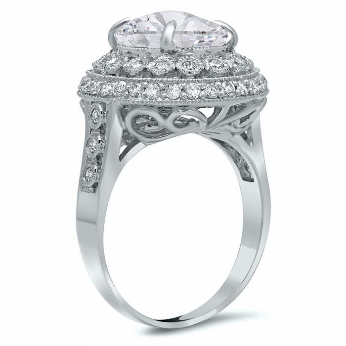 Bezel and Pave Halo Engagement Ring with Milgrain Double Halo Engagement Rings deBebians