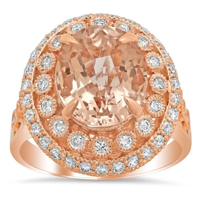 Bezel and Pave Morganite Halo Engagement Ring with Milgrain Rose Gold & Morganite Engagement Rings deBebians