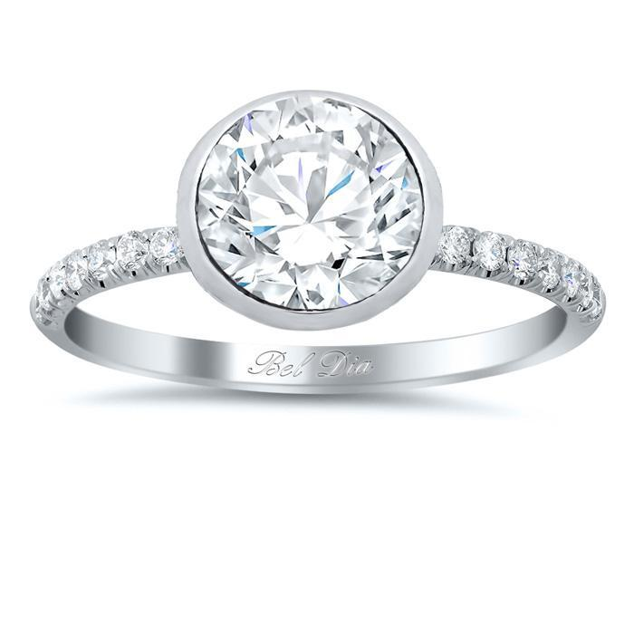 Bezel Set Diamond Engagement Ring with Pave Diamond Band Diamond Accented Engagement Rings deBebians