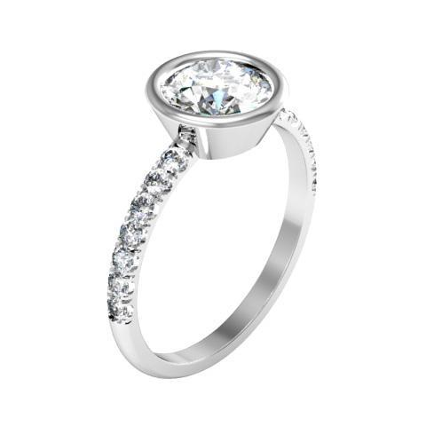 Bezel Set Diamond Engagement Ring with Pave Diamond Band