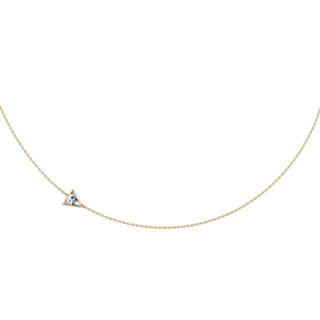 Bezel Trillion Pendant Necklace Solitaire Necklaces deBebians