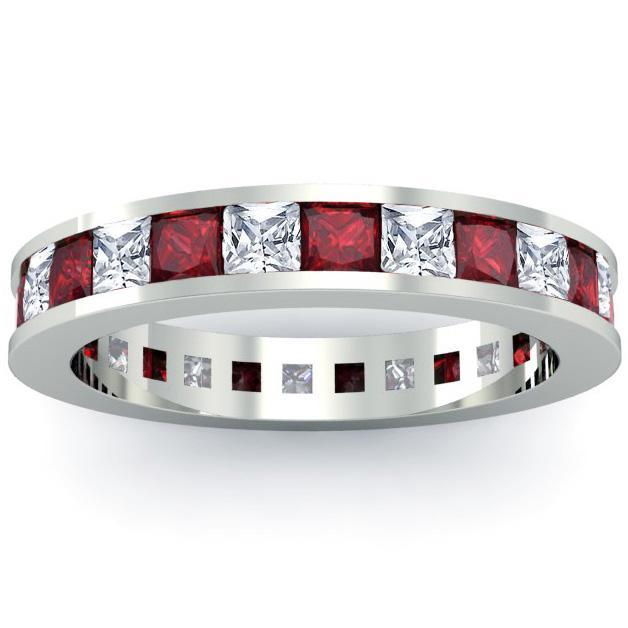 Birthstone Eternity Band with Garnets and Diamonds Gemstone Eternity Rings deBebians