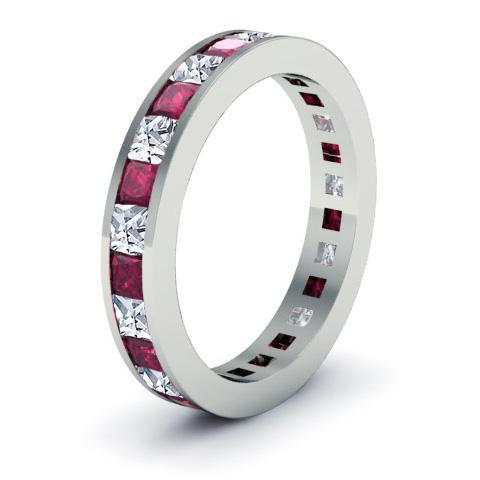 Birthstone Eternity Band with Garnets and Diamonds