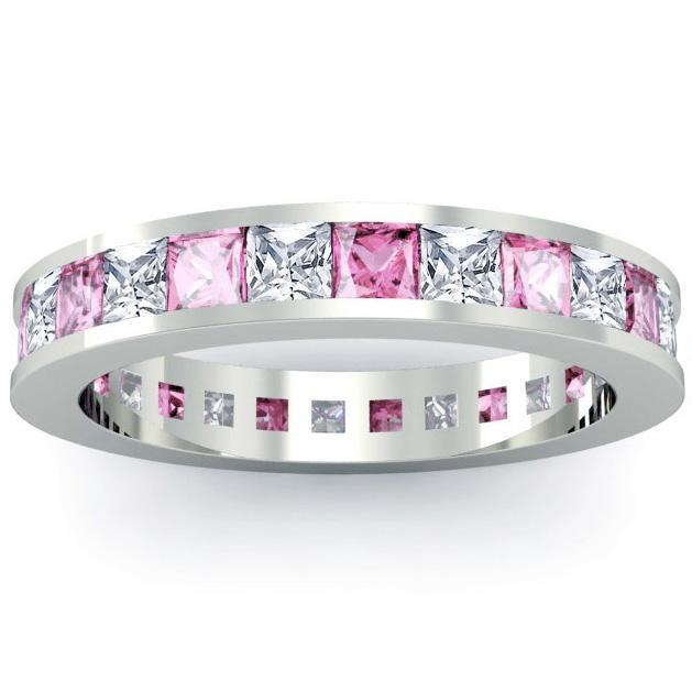 Birthstone Eternity Band with Pink Sapphires and Diamonds Gemstone Eternity Rings deBebians