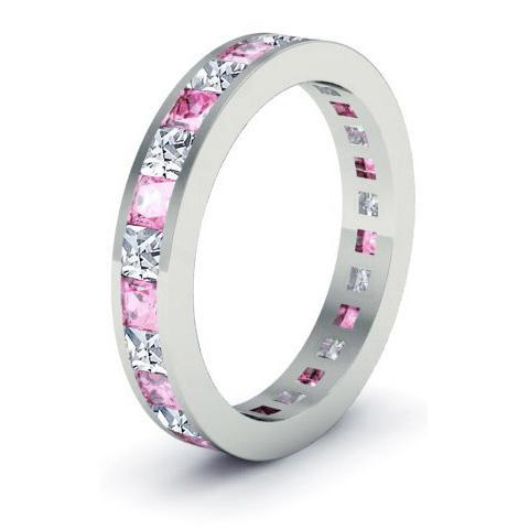 Birthstone Eternity Band with Pink Sapphires and Diamonds
