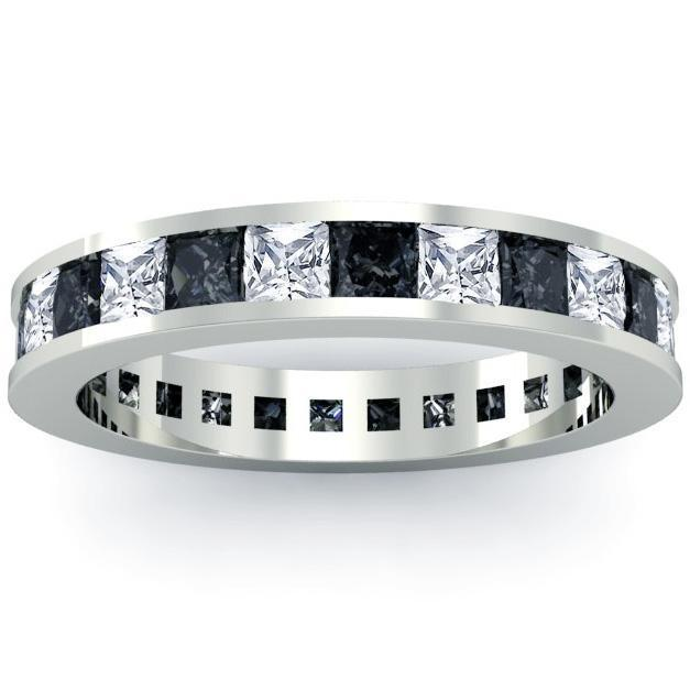 Princess Cut Black and White Diamond Eternity Wedding Ring Gemstone Eternity Rings deBebians